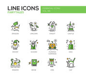 Fairy Tales- flat design line icons set Stock Image