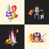 Fairy tales flat design magic cartoon characters compositions set Stock Photo