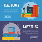 Fairy tales flyers with people reading books. Literature event announcement, bookstore advertising template, book fair creative banner, knowledge and education Royalty Free Stock Photography