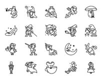Fairy tales icons set. Set of Fantasy Related Vector Line Icons. Set of 20 minimal fable icons royalty free illustration