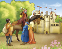 Fairy tales-Prince and castle Stock Photography