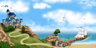 Fairy-taleschloß auf dem Felsen Lizenzfreies Stockfoto