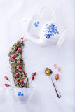 Fairy tea from roses stock photography