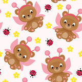 Fairy teddy bear seamless pattern Royalty Free Stock Image