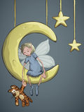 Fairy with a tiger on the crescent moon. Young fairy is sitting on a crescent moon and hold on tiger toy in New Year's eve Royalty Free Stock Photography