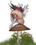 Fairy Toadstool - 2. Digital render of a cute fairy with butterfly wings, wearing a pink outfit and sitting on a toadstool Royalty Free Stock Photos