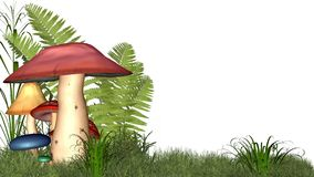 Fairy toadstools on white with copyspace. 3d Digitally rendered group of brightly coloured fairy mushrooms or toadstools, ferns and grass in widescreen format Stock Photography