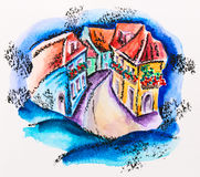 Fairy town street with flowered balcony houses Royalty Free Stock Photo