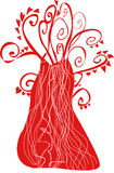 Fairy tree. Red Heart Tree Vector Illustration Royalty Free Stock Photography