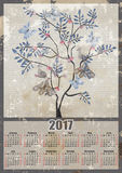 Fairy tree with birds and butterflies 2017 grunge calendar desig. N printable illustration Stock Photos