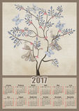 Fairy tree with birds and butterflies 2017 grunge calendar desig Stock Photo