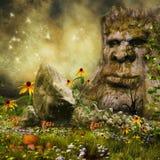 Fairy tree, flowers and mushrooms Royalty Free Stock Photo