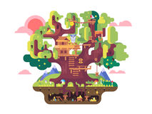 Fairy tree house. Childhood building, nature home design, fantasy architecture, flat vector illustration stock illustration
