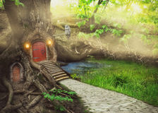 Fairy tree house in fantasy forest. With stone road stock illustration