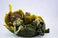 Pixie trolls on a leaf Royalty Free Stock Photos