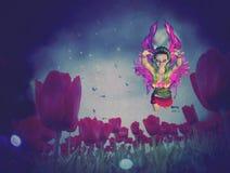 Fairy and Tulips Stock Photos