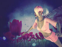 Fairy and Tulips Royalty Free Stock Photos