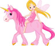 Fairy on unicorn Stock Image
