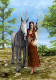 Fairy and Unicorn. 3D digital render of a beautiful fairy with a fairytale unicorn in the fantasy forest Royalty Free Stock Photos