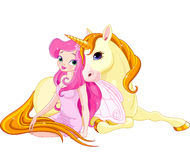 Fairy and Unicorn Stock Image