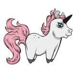 Fairy unicorn with pink mane. little unicorn Royalty Free Stock Photo