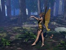Fairy in uno schiarimento della foresta Fotografia Stock