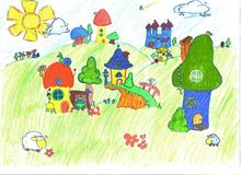 Drowing dreamland. Fairy village. child's drawing.Dream vector illustration