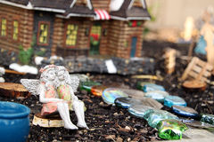Fairy Village. Two fairy friends in a magical fairy village scene Royalty Free Stock Image