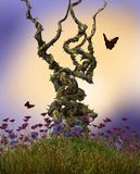 Fairy Vines Growing Plant Hill. 3D render illustration of enchanting fairy heavy twisted vines on top of a hill surrounded by flowers Stock Photos