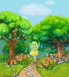 Fairy walking on a path through the magical forest. Illustration. For children stock illustration