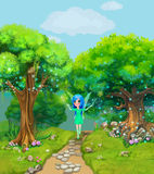 Fairy walking on a path through the magical forest. Illustration. For children royalty free illustration