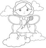 Fairy with a wand coloring page Stock Images