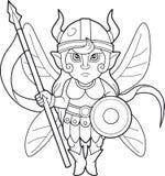 Fairy warrior, coloring book Royalty Free Stock Photos