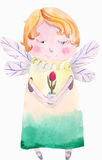 Fairy. Watercolor fairy, cartoon illustration isolated on white background Stock Images