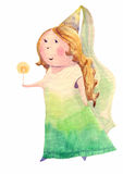 Fairy. Watercolor fairy, cartoon illustration isolated on white background Stock Photography