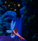 Fairy Waterfall Starry Night Illustration Royalty Free Stock Images