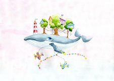 Fairy whale with a little town on the back royalty free stock photos