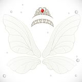 Fairy white wings with tiaras bundled Royalty Free Stock Image