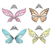 Fairy wings with princess tiara. Fashion carnival headdress vector illustration isolated on white background stock illustration