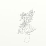 Fairy with wings sitting upward a fungus chine coloring humorous children Royalty Free Stock Photo