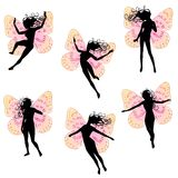 Fairy Wings Women Silhouettes stock illustration