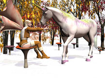 Fairy Winter. Computer generated scene of a Fairy and Unicorn in the winter forrest Stock Photo