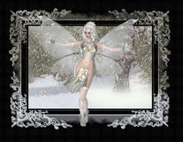Fairy on Winter Painting Background. First created a winter themed background and textured it to look like a painting. Next I added a frame to give it a vintage/ stock illustration