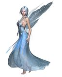 Fairy Winter Spirit 2. Fairy spirit in an icy blue dress with snowflake wings, 3d digitally rendered illustration Royalty Free Stock Photo