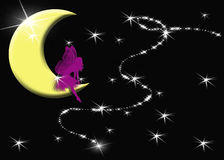 Fairy Wishing on a Star!. Background designed with a fairy sitting on the moon wishing on a star.  Originally designed for the theme Royalty Free Stock Image