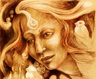 Fairy woman face drawing, sepia monochromatic profile portrait Royalty Free Stock Image