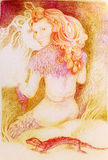 Fairy woman knitting from sun ray threads, detailed ornamental drawing Stock Photo