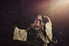 Fairy woman lost in a midsummer dream. Fantasy concept Royalty Free Stock Photography