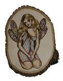 Fairy on wood. Illustraton of fairy on basswood plaque, done with woodburning technique known as pyrography Stock Photo