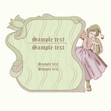 Fairy. Wood fairy with decor green frame Royalty Free Illustration